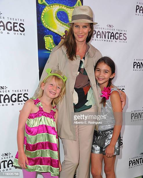 Actress Rachel Griffiths daughter Adelaide Taylor and actress Rowan Blanchard arrive to the Los Angeles Opening Night of 'Shrek The Musical' at the...