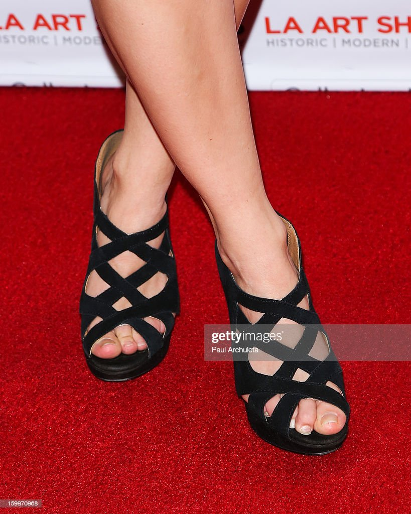 Actress Rachel Hendrix (Shoe Detail) attends the LA Art Show opening night party at Los Angeles Convention Center on January 23, 2013 in Los Angeles, California.