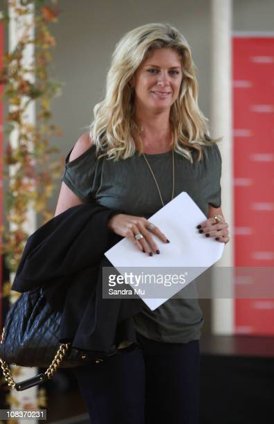Actress Rachel Hunter arrives to speak about her collection during the Warehouse 2011 fashion preview at Hopetoun Alpha on January 27 2011 in...