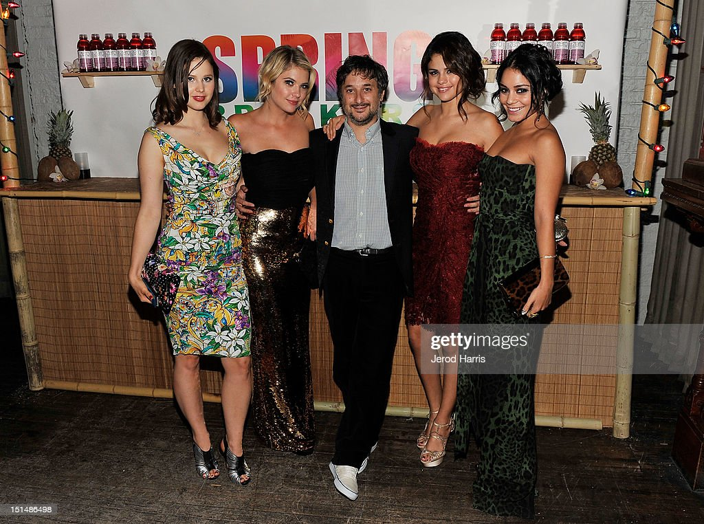 Actress Rachel Korine, Actress Ashley Benson, Writer/Director Harmony Korine, Actress Selena Gomez and Actress Vanessa Hudgens attend a dinner for the cast of 'Spring Breakers' hosted by vitaminwater during the 2012 Toronto International Film Festival at Brassaii on September 7, 2012 in Toronto, Canada.