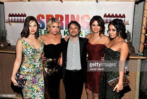 Actress Rachel Korine Actress Ashley Benson Writer/Director Harmony Korine Actress Selena Gomez and Actress Vanessa Hudgens attend a dinner for the...
