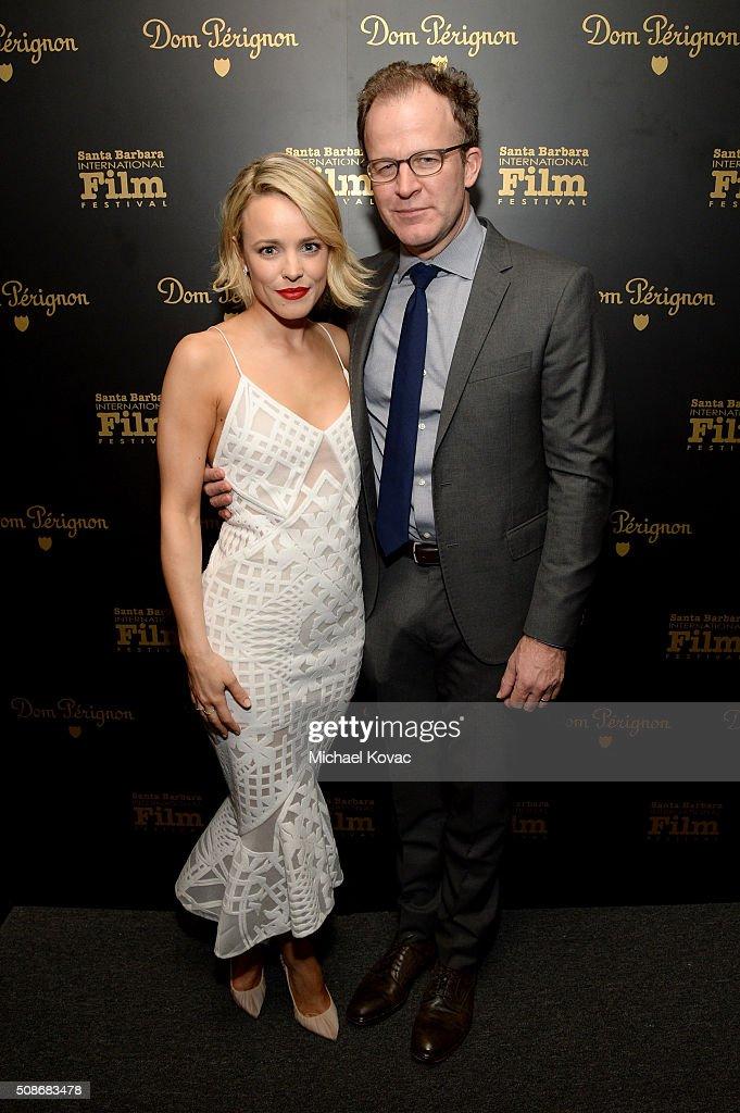 Actress Rachel McAdams (L) and director Tom McCarthy visit the Dom Perignon Lounge at The Santa Barbara International Film Festival on February 5, 2016 in Santa Barbara, California.