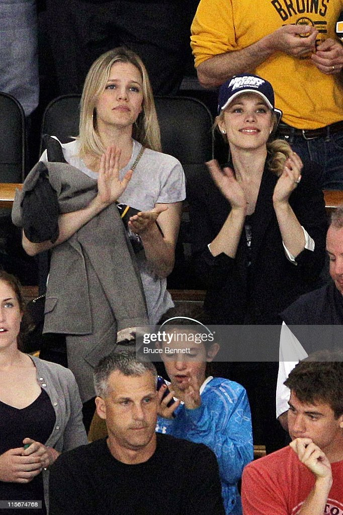 Actress Rachel McAdams and her sister Kayleen cheer during Game Four between the Boston Bruins and the Vancouver Canucks in the 2011 NHL Stanley Cup...