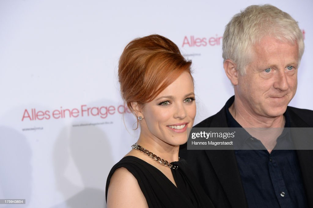 Actress <a gi-track='captionPersonalityLinkClicked' href=/galleries/search?phrase=Rachel+McAdams&family=editorial&specificpeople=212942 ng-click='$event.stopPropagation()'>Rachel McAdams</a> and Richard Curtis attend the Universal Open Air Film Lounge with the special screening of 'Alles eine Frage der Zeit' at the Kino am Olympiasee on August 10, 2013 in Munich, Germany.
