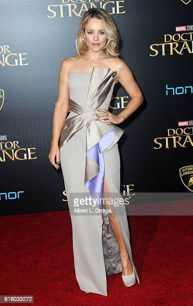Actress Rachel McAdams arrives for the Premiere Of Disney And Marvel Studios' 'Doctor Strange' held at the El Capitan Theatre on October 20 2016 in...