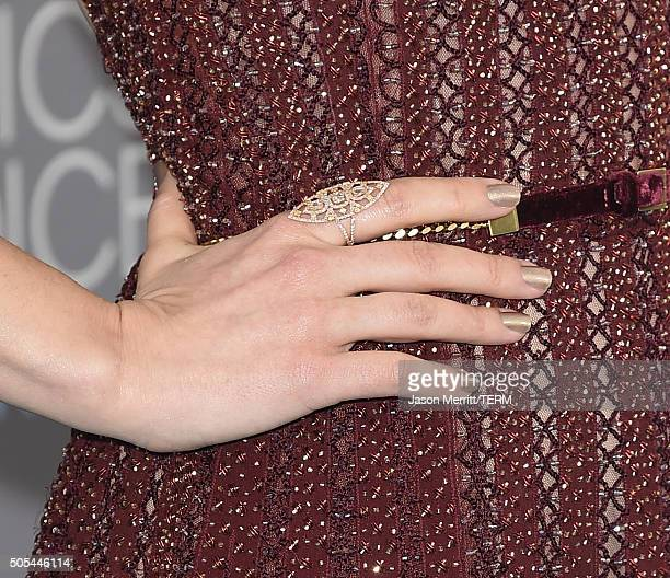 Actress Rachel McAdams fashion detail attends the 21st Annual Critics' Choice Awards at Barker Hangar on January 17 2016 in Santa Monica California