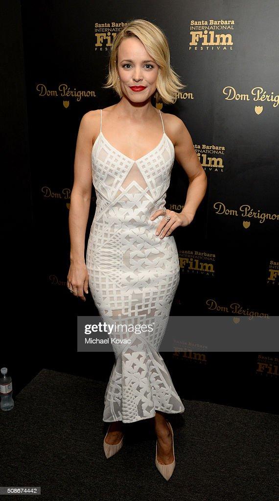 Actress Rachel McAdams visits the Dom Perignon Lounge before receiving the American Riviera Award at The Santa Barbara International Film Festival on February 5, 2016 in Santa Barbara, California.