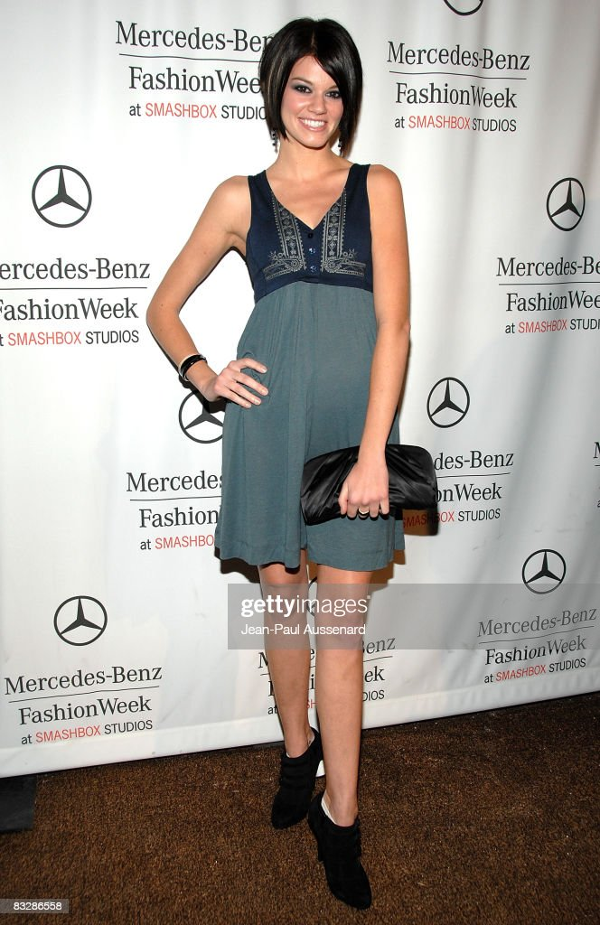 Actress Rachel Melvin arrives at the Spring 2009 Mercedes-Benz Fashion Week held at Smashbox studios on October 14, 2008 in Culver City, California.