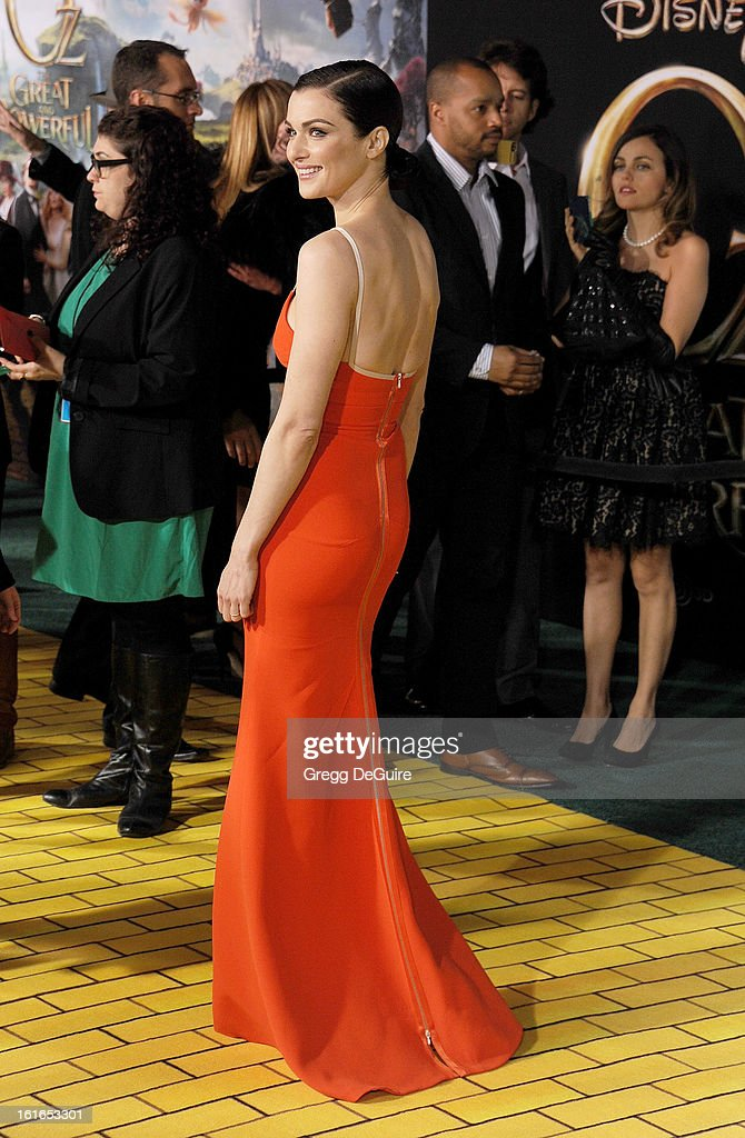 Actress Rachel Weisz arrives at the Los Angeles premiere of 'Oz The Great and Powerful' at the El Capitan Theatre on February 13, 2013 in Hollywood, California.
