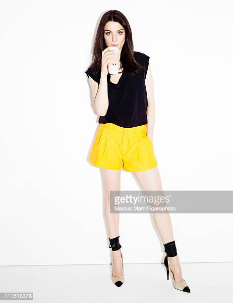 Actress Rachel Weisz is photographed for Madame Figaro on January 21 2011 in Paris France Published image Figaro ID 099839013 Blouse by Lanvin shorts...