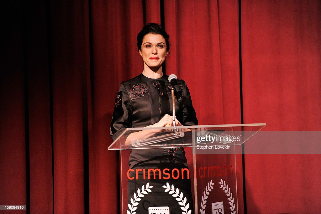 Actress <a gi-track='captionPersonalityLinkClicked' href=/galleries/search?phrase=Rachel+Weisz&family=editorial&specificpeople=204656 ng-click='$event.stopPropagation()'>Rachel Weisz</a> speaks onstage at the 2012 New York Film Critics Circle Awards at Crimson on January 7, 2013 in New York City.