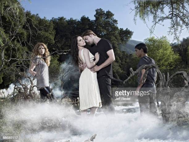 Actress Rachelle Lefevre actress Kristen Stewart actor Robert Pattinson and actor Taylor Lautner pose as their characters from the Twilight movies at...