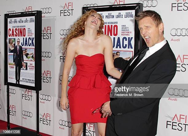 Actress Rachelle Lefevre and Actor Barry Pepper arrive at the 'Casino Jack' screening during AFI FEST 2010 presented by Audi held at Grauman's...