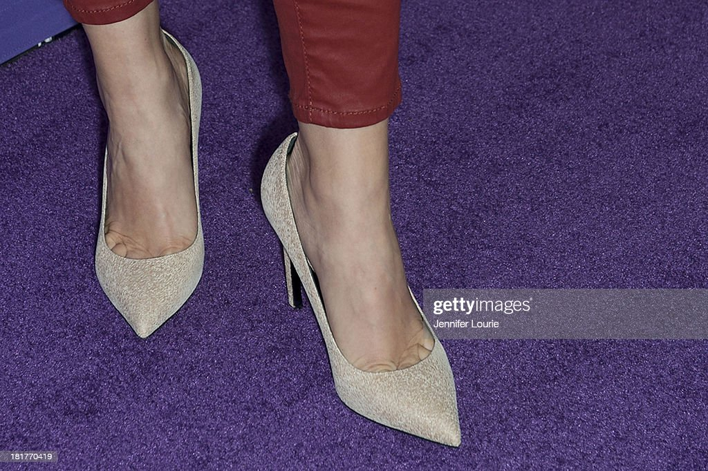 Actress Rachelle Lefevre (shoe detail) attends the Los Angeles premiere screening of 'Valentine Road' at The Museum of Tolerance on September 24, 2013 in Los Angeles, California.