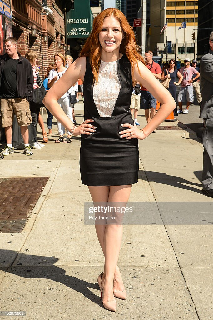 Actress Rachelle Lefevre enters the 'Late Show With David Letterman' taping at the Ed Sullivan Theater on July 29, 2014 in New York City.
