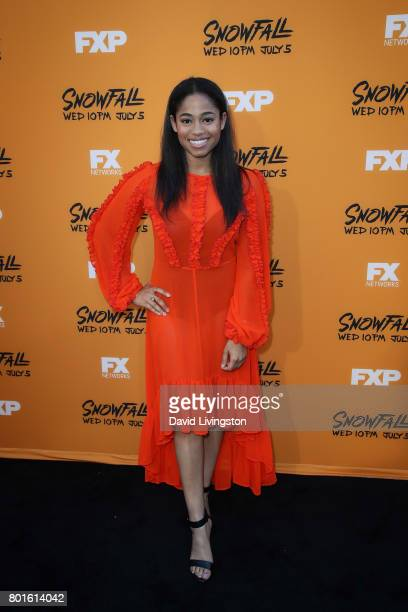 Actress Racquel B John attends the premiere of FX's 'Snowfall' at The Theatre at Ace Hotel on June 26 2017 in Los Angeles California