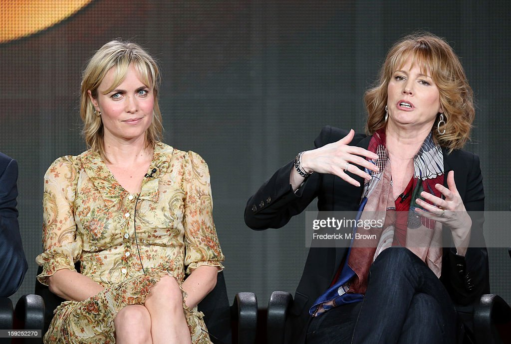 Actress Radha Mitchell and Executive Producer Melissa Rosenberg of 'Red Widow' speak onstage during the ABC portion of the 2013 Winter TCA Tour at Langham Hotel on January 10, 2013 in Pasadena, California.