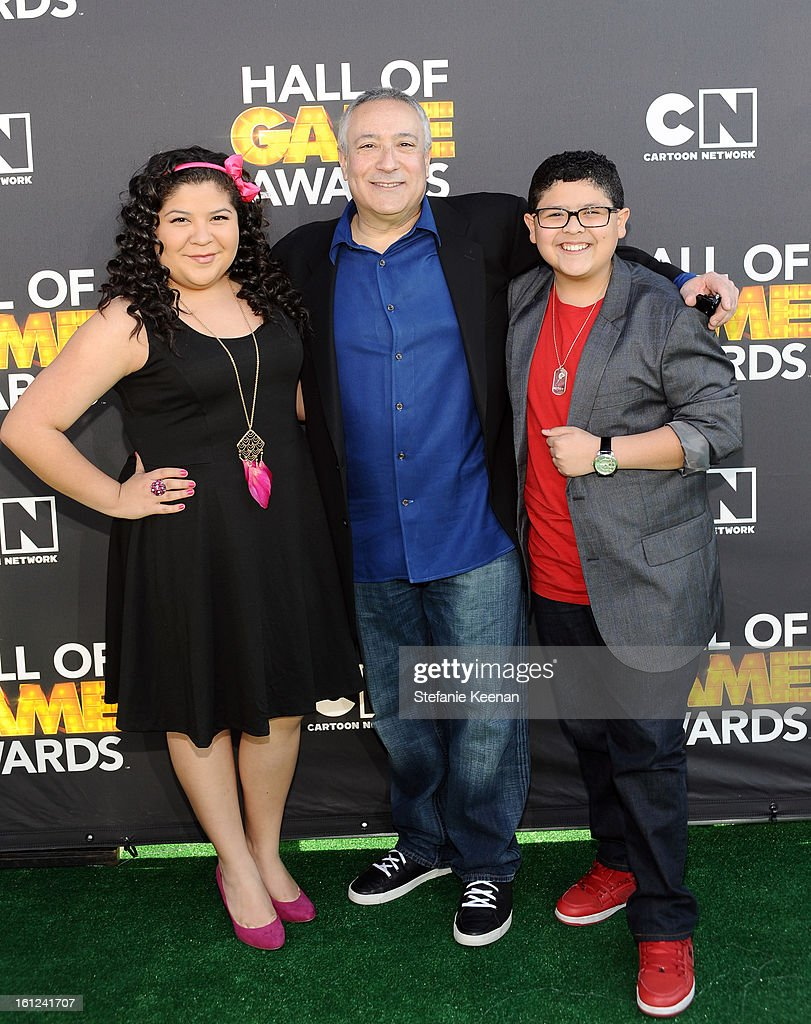 Actress Raini Rodriguez, Cartoon Network President/COO Stuart Snyder and actor Rico Rodriguez attend the Third Annual Hall of Game Awards hosted by Cartoon Network at Barker Hangar on February 9, 2013 in Santa Monica, California. 23270_002_SK_0669.JPG