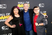 Actress Raini Rodriguez President/COO of Cartoon Network Stuart Snyder and actor Rico Rodriguez attend the Third Annual Hall of Game Awards hosted by...