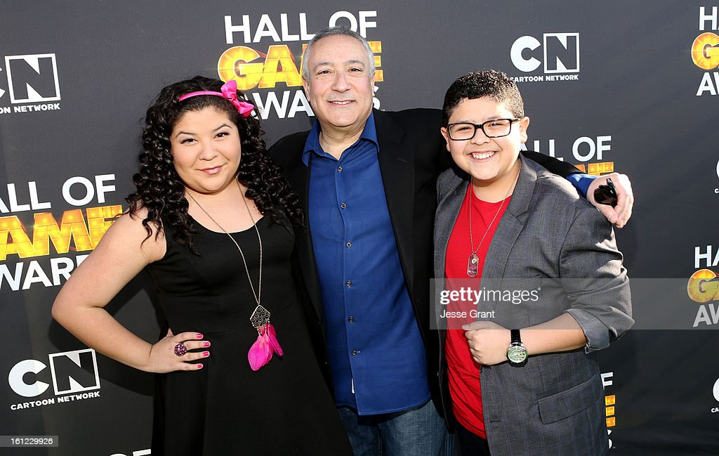 Actress Raini Rodriguez, President/COO of Cartoon Network, Stuart Snyder and actor Rico Rodriguez attend the Third Annual Hall of Game Awards hosted by Cartoon Network at Barker Hangar on February 9, 2013 in Santa Monica, California. 23270_002_JG_0331.JPG