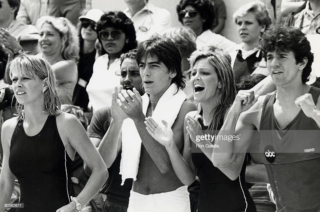 Actress Randi Oakes, actor Scott Baio, actress Heather Locklear and actor Adrienne Zmed attending 'Battle of the Network Stars' on April 23, 1983 at Pepperdine University in Malibu, California.
