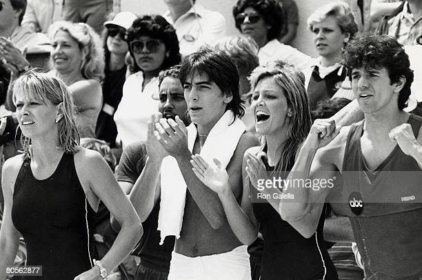 Actress Randi Oakes actor Scott Baio actress Heather Locklear and actor Adrienne Zmed attending 'Battle of the Network Stars' on April 23 1983 at...