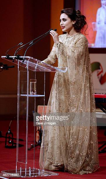 Actress Rani Mukerji are seen onstage as she attends the British Asian Trust dinner at Banqueting House on February 3 2015 in London England
