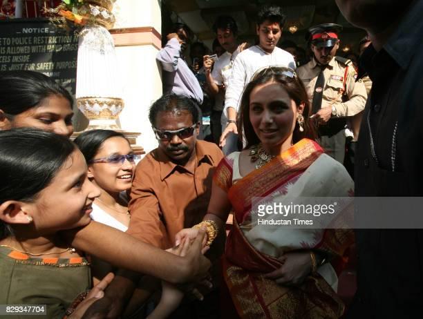 Actress Rani Mukherjee and her mother offer prayers at the Durga Puja pandal set by the Mukherjee family near Podar School at Santacruz