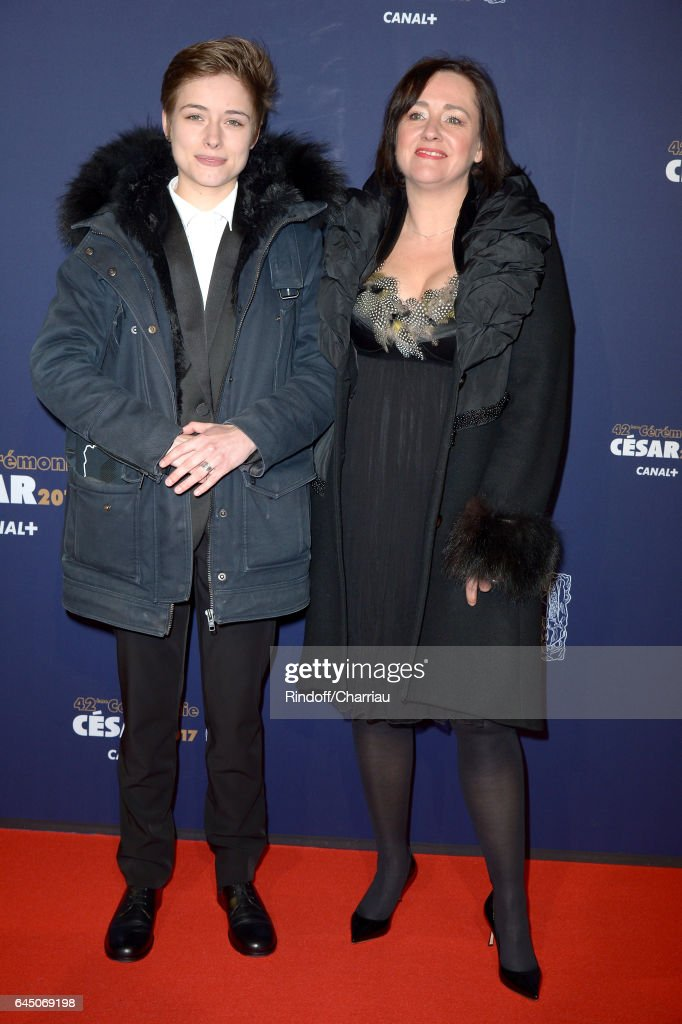Actress Raph and a guest arrive at the Cesar Film Awards Ceremony at Salle Pleyel on February 24, 2017 in Paris, France.