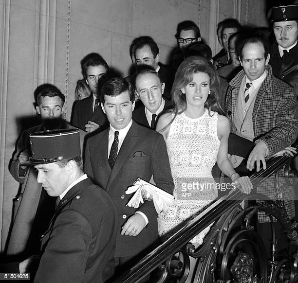 US actress Raquel Welch and her newly wed husband US producer Patrick Curtis leave 14 February 1967 the City Hall of Paris 8th district after they...