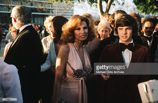 Actress Raquel Welch and son Damon Welch arrives to the 46th Academy Awards at Dorothy Chandler Pavilion in Los AngelesCalifornia