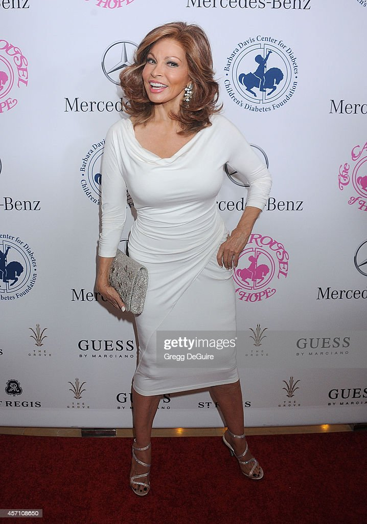 Actress <a gi-track='captionPersonalityLinkClicked' href=/galleries/search?phrase=Raquel+Welch&family=editorial&specificpeople=203311 ng-click='$event.stopPropagation()'>Raquel Welch</a> arrives at the 2014 Carousel Of Hope Ball Presented By Mercedes-Benz at The Beverly Hilton Hotel on October 11, 2014 in Beverly Hills, California.