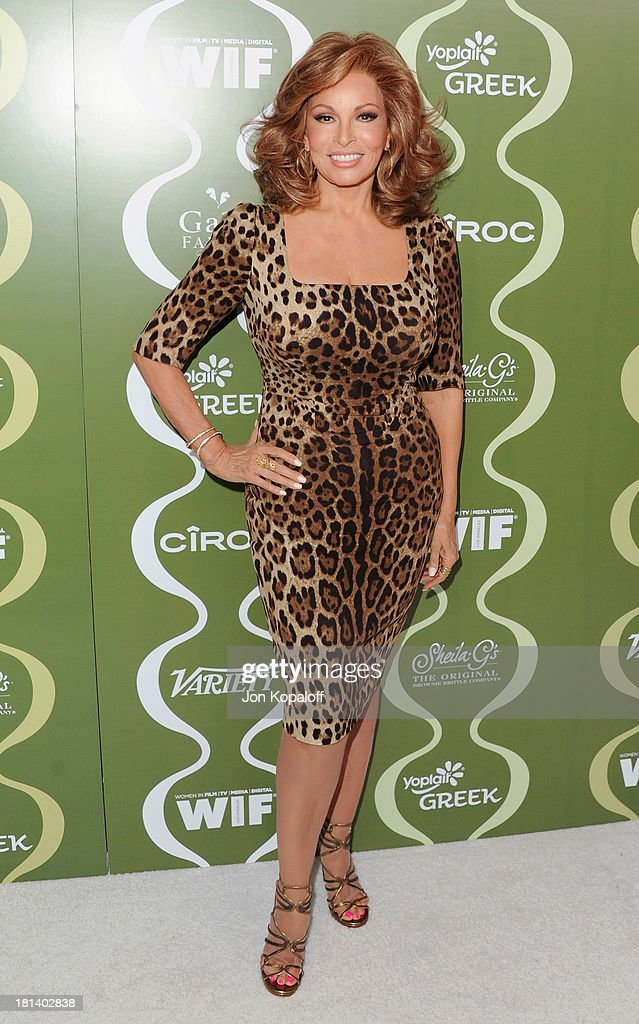Actress Raquel Welch arrives at the Variety And Women In Film Pre-Emmy Party at Scarpetta on September 20, 2013 in Beverly Hills, California.