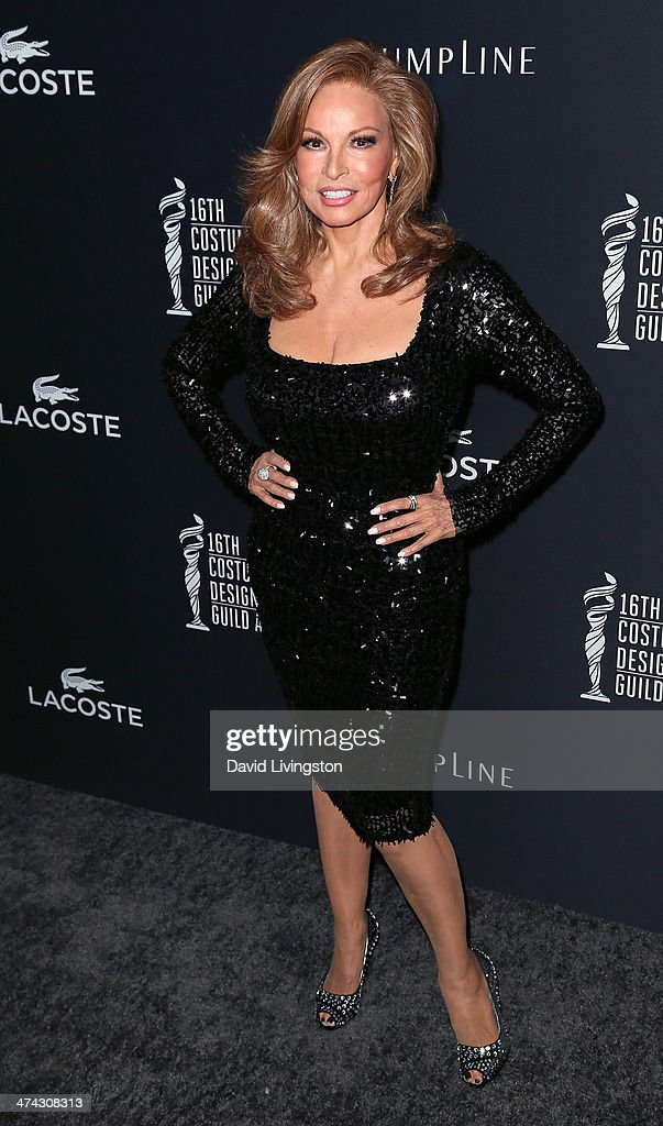 Actress <a gi-track='captionPersonalityLinkClicked' href=/galleries/search?phrase=Raquel+Welch&family=editorial&specificpeople=203311 ng-click='$event.stopPropagation()'>Raquel Welch</a> attends the 16th Costume Designers Guild Awards with presenting sponsor Lacoste at The Beverly Hilton Hotel on February 22, 2014 in Beverly Hills, California.