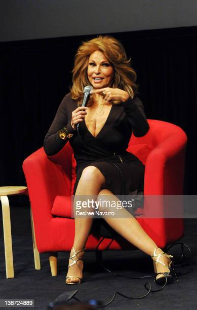 Actress Raquel Welch participates in a QA at a screening of 'Myra Breckinridge' at The Film Society of Lincoln Center Walter Reade Theatre on...