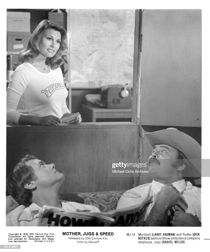 Actress Raquel Welch with actors Larry Hagman and <a gi-track='captionPersonalityLinkClicked' href=/galleries/search?phrase=Dick+Butkus&family=editorial&specificpeople=809708 ng-click='$event.stopPropagation()'>Dick Butkus</a> on set for the 20th Century-Fox movie ' Mother, Jugs & Speed' in 1976.