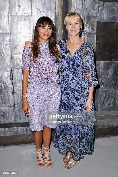 Actress Rashida Jones and designer Rebecca Taylor pose backstage at the Rebecca Taylor fashion show during MercedesBenz Fashion Week Spring 2015 at...