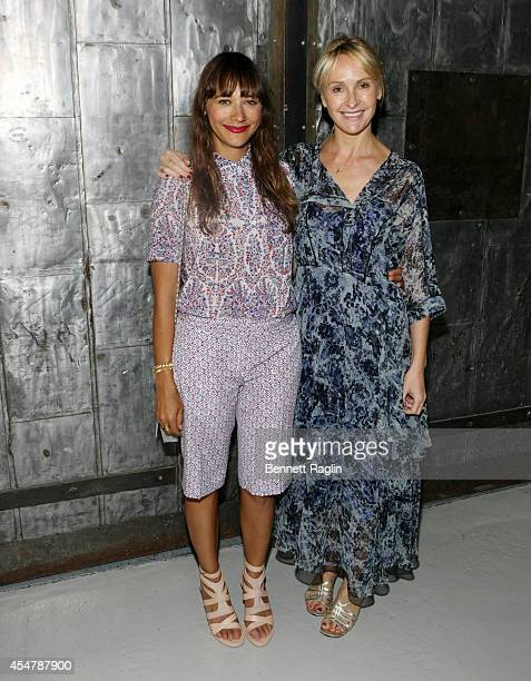 Actress Rashida Jones and designer Rebecca Taylor pose for a picture backstage at the Rebecca Taylor fashion show during MercedesBenz Fashion Week...