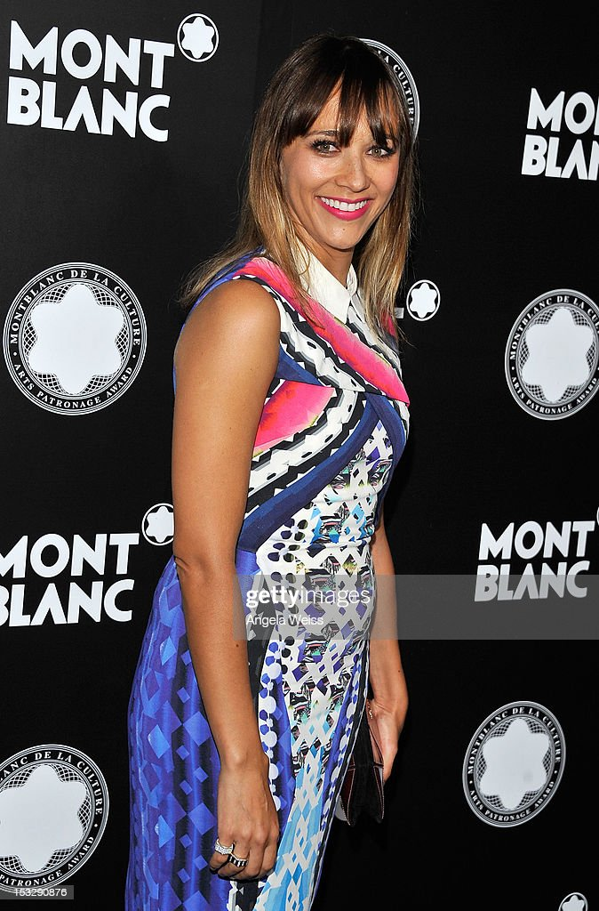 Actress <a gi-track='captionPersonalityLinkClicked' href=/galleries/search?phrase=Rashida+Jones&family=editorial&specificpeople=2133481 ng-click='$event.stopPropagation()'>Rashida Jones</a> arrives at Montblanc's 2012 Montblanc de la Culture Arts Patronage Award Ceremony honoring Quincy Jones at Chateau Marmont on October 2, 2012 in Los Angeles, California.
