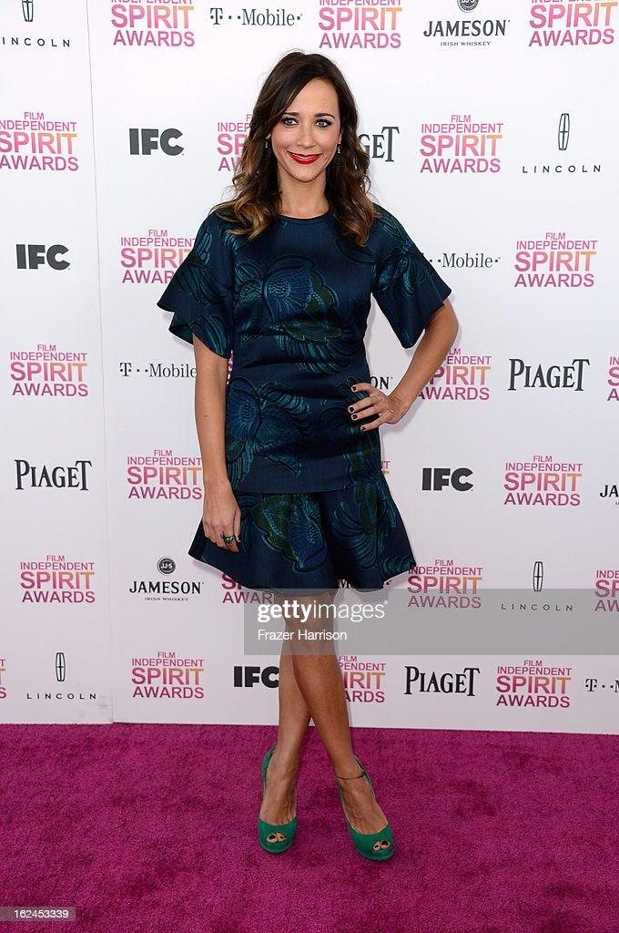 Actress Rashida Jones attends the 2013 Film Independent Spirit Awards at Santa Monica Beach on February 23, 2013 in Santa Monica, California.