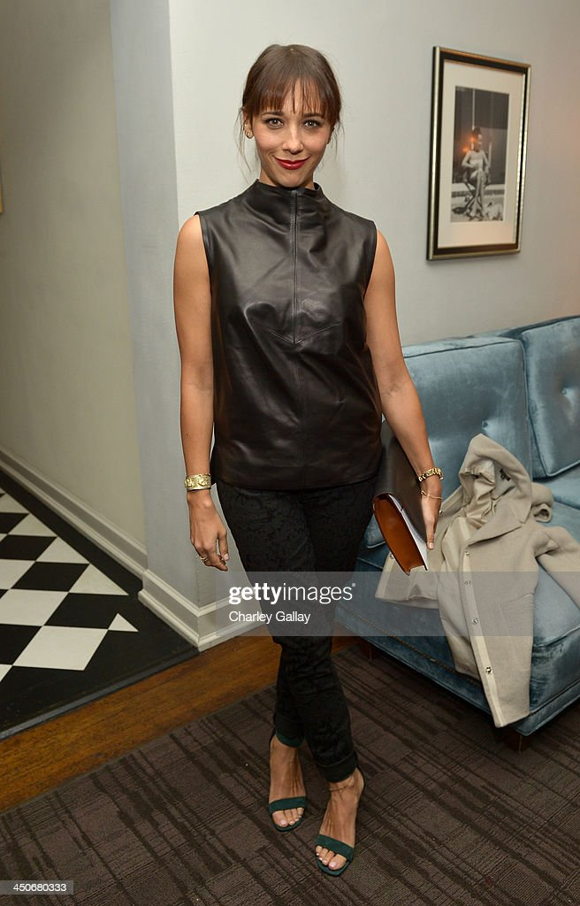 Actress <a gi-track='captionPersonalityLinkClicked' href=/galleries/search?phrase=Rashida+Jones&family=editorial&specificpeople=2133481 ng-click='$event.stopPropagation()'>Rashida Jones</a> attends the launch celebration of the Banana Republic L'Wren Scott Collection hosted by Banana Republic, L'Wren Scott and Krista Smith at Chateau Marmont on November 19, 2013 in Los Angeles, California.