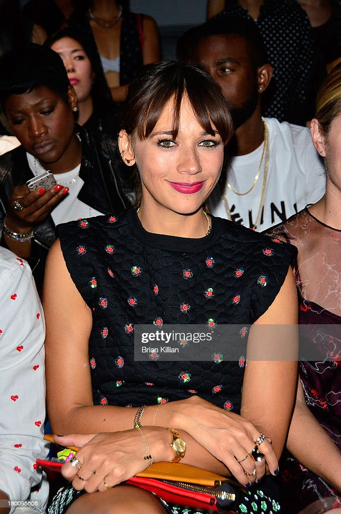 Actress <a gi-track='captionPersonalityLinkClicked' href=/galleries/search?phrase=Rashida+Jones&family=editorial&specificpeople=2133481 ng-click='$event.stopPropagation()'>Rashida Jones</a> attends the Opening Ceremony show during Spring 2014 Mercedes-Benz Fashion Week at SuperPier 25 on September 8, 2013 in New York City.