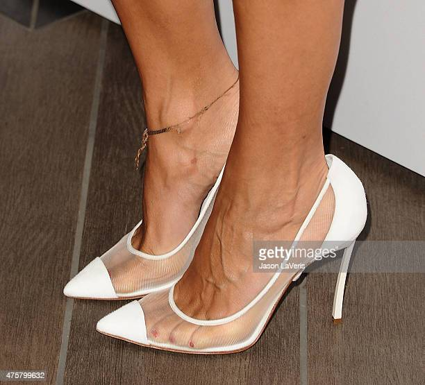 Actress Rashida Jones shoe detail attends Revlon's celebration of achievements in cancer research at Four Seasons Hotel Los Angeles at Beverly Hills...