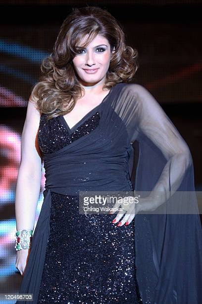 Actress Raveena Tandon walks the ramp in an Ramona Narang outfit at Blenders Pride Fashion Tour Mumbai Day 2 held at Taj Lands End on August 6 2011...