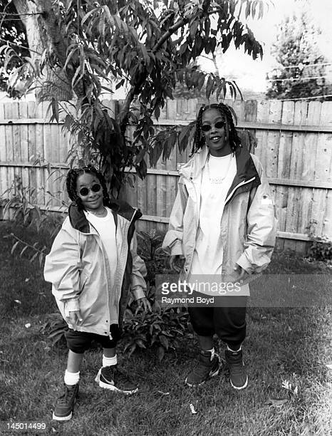 Actress RavenSymone and rapper Da Brat poses for photos on the set of rapper Da Brat's video 'Fa All Y'All' in Chicago Illinois in JANUARY 1993
