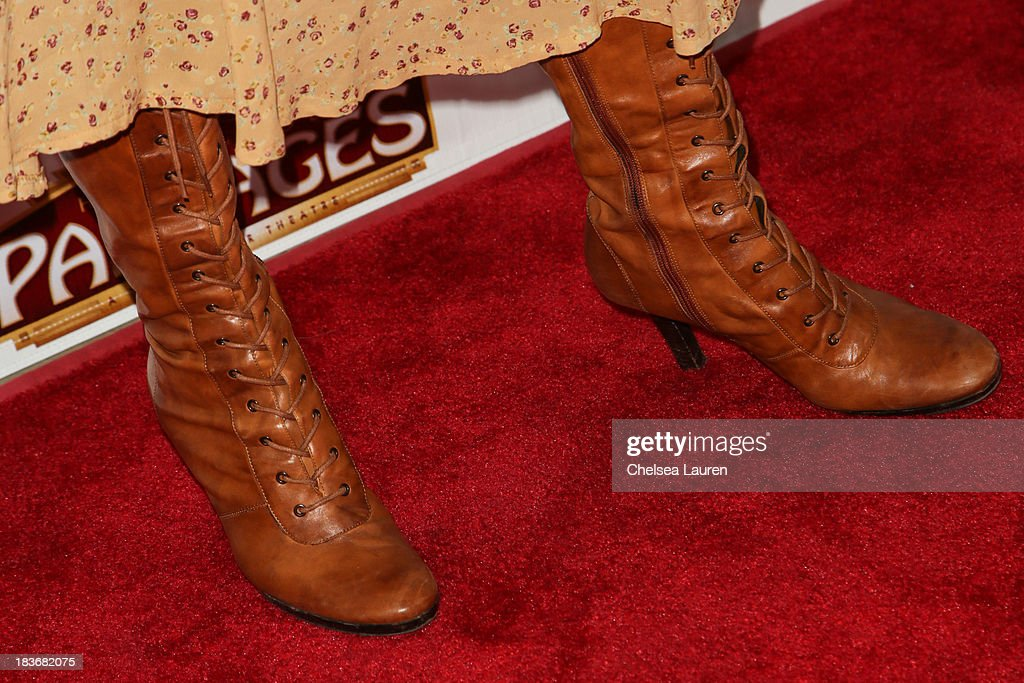 Actress Reba Toney (shoe detail) attends the 'War Horse' red carpet opening night at the Pantages Theatre on October 8, 2013 in Hollywood, California.