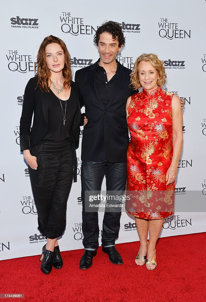 Actress Rebecca Ferguson, actor <a gi-track='captionPersonalityLinkClicked' href=/galleries/search?phrase=James+Frain&family=editorial&specificpeople=2240982 ng-click='$event.stopPropagation()'>James Frain</a> and author Philippa Gregory arrive at 'Cocktails with the Queen' - the British Consulate's toast to the U.S launch of the Starz original series 'The White Queen' at the British Consul General's Residence on July 25, 2013 in Los Angeles, California.