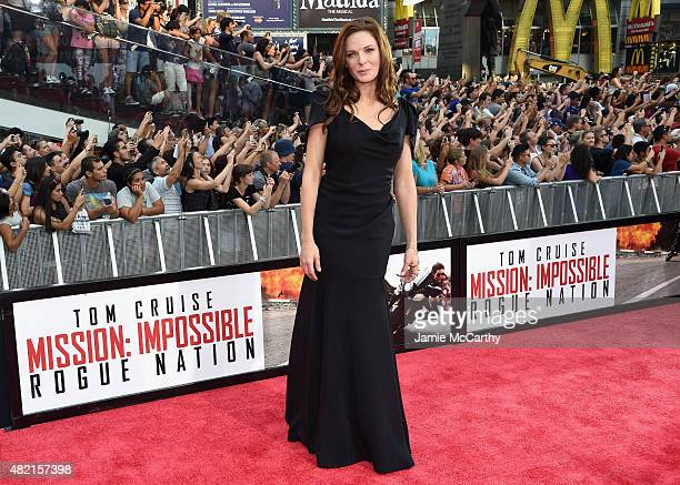 Actress Rebecca Ferguson attends the 'Mission Impossible Rogue Nation' New York premiere at Duffy Square in Times Square on July 27 2015 in New York...