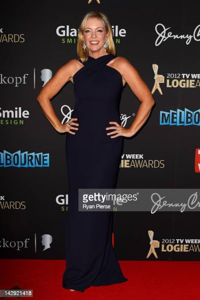 Actress Rebecca Gibney arrives at the 2012 Logie Awards at the Crown Palladium on April 15 2012 in Melbourne Australia