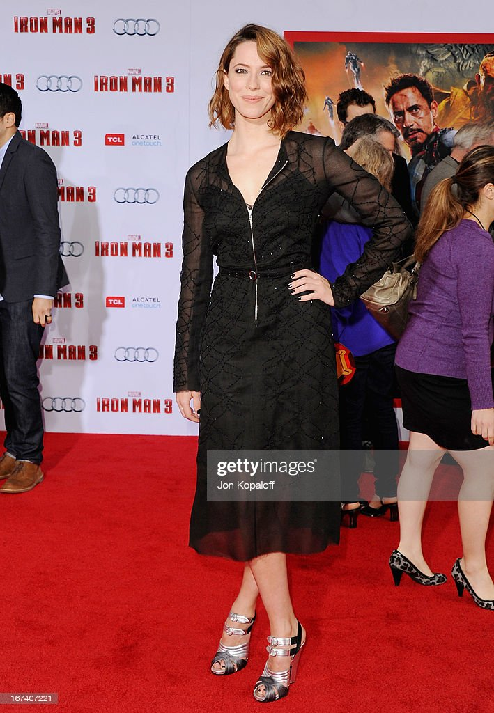 Actress Rebecca Hall arrives at the Los Angeles Premiere 'Iron Man 3' at the El Capitan Theatre on April 24, 2013 in Hollywood, California.